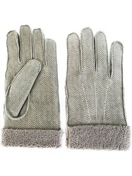 Canali Herringbone Gloves Grey
