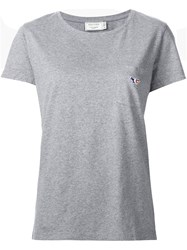 Maison Kitsune Embroidered Pocket T Shirt Grey