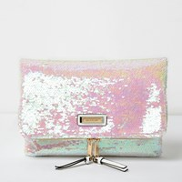 River Island Womens White Reflective Sequin Fold Over Clutch Bag