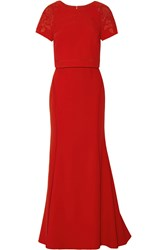 Marchesa Embellished Crepe Top And Skirt Set Red