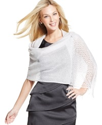 Style And Co. Woven Metallic Crochet Wrap White Silver
