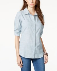 American Rag Crochet Back Button Front Chambray Shirt Only At Macy's