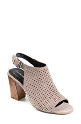 Adam Tucker By Me Too Women's Adam Tucker 'Meridia City' Perforated Slingback Peep Toe Sandal Grey Burnished Kid