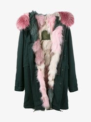 Mr And Mrs Italy Raccoon Fur Trimmed Fox Fur Lined Parka Green Pink Multi Coloured