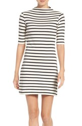French Connection Women's Stripe Terry Shift Dress Classic Cream