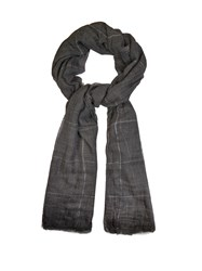 Brunello Cucinelli Sparkling Windowpane Checked Cashmere Scarf Grey