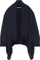 Autumn Cashmere Draped Open Knit Cotton Cardigan Midnight Blue