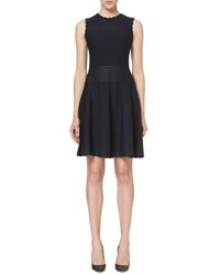Carolina Herrera Scalloped Sleeveless Knit Dress Navy