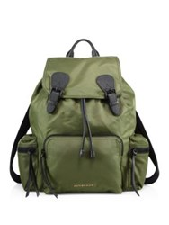 Burberry Calf Leather Trimmed Large Rucksack Green