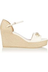 Gucci Horsebit Detailed Glossed Leather Espadrille Wedge Sandals