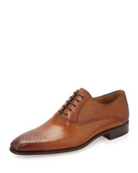 Magnanni Vekio Perforated Lace Up Oxford Cognac