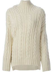 Viktor And Rolf Cable Knit Turtleneck Sweater White