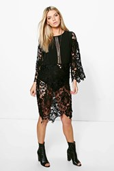 Boohoo Crochet Lace Kimono Sleeve Dress Black