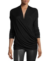 Alice Olivia Jazlynn Long Sleeve Ruched Surplice Top Black