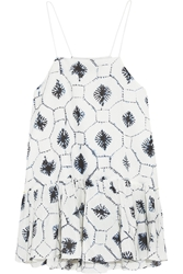 Tibi Ruffled Printed Cotton And Silk Blend Top