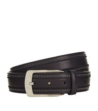 Brioni Brogue Embossed Leather Belt Unisex Black