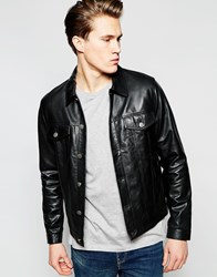 Barney's Leather Western Jacket With Chest Pockets And Raw Edge Black