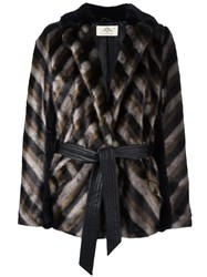 Urbancode Striped Furred Effect Jacket Black