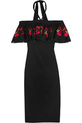 Temperley London Lyra Off The Shoulder Embroidered Stretch Crepe Dress Black