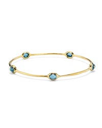 Ippolita 18K Gold Lollipop 5 Stone Bangle In London Blue Topaz