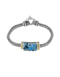 Effy London Blue Topaz Sterling Silver And 18K Yellow Gold Bracelet
