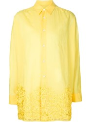 Junya Watanabe Comme Des Gara Ons Floral Embroidered Shirt Yellow And Orange