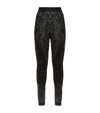 Balmain Lace Effect Jacquard Leggings Female Black