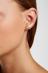 Argentovivo 18K Yellow Gold Plated Sterling Silver Leaf Ear Crawlers Metallic
