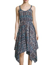 Casual Couture Sleeveless Tribal Print Dress Navy Cream