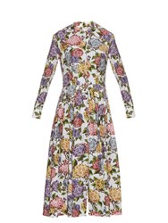 Emilia Wickstead Dolly Hydrangea Print Midi Dress Blue Print