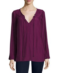 Ramy Brook Amelia Long Sleeve Peasant Top Sangria