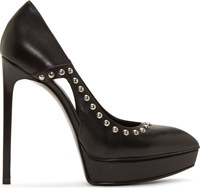 Saint Laurent Black Leather Studded Janis Stiletto Shoes