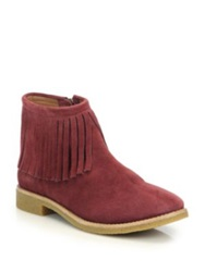 Kate Spade Betsie Too Fringed Suede Ankle Boots Maroon Grey Cognac