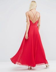 Asos Strappy Maxi Dress With Pleated Skirt Bright Pink