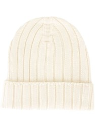 Maison Martin Margiela Mm6 Ribbed Beanie Hat White