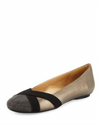 Neiman Marcus Ballerina Leather Flat With Chain Cap Toe Multi