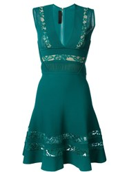 Elie Saab Embroidered Panel Dress Green