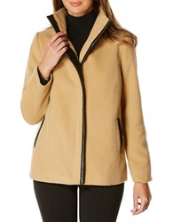 Rafaella Petite Plush Faux Leather Trim Jacket Desert