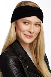 Portolano Chunky Hatchi Stitch Headband With Twist Black