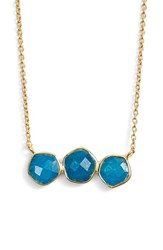 Argentovivo Women's Argento Vivo Three Stone Frontal Necklace Gold Blue Aventurine
