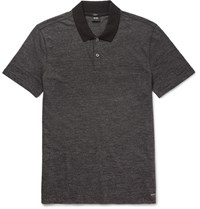 Hugo Boss Bo Contrat Trimmed Melange Cotton Blend Polo Hirt Black