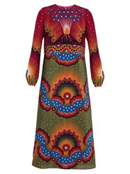 Valentino Enchanted Wonderland And Volcano Print Silk Dress Green Multi