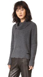 Rta Anuok Destroyed Cashmere Sweater Charcoal