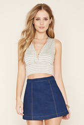 Forever 21 Striped Surplice Crop Top