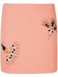 Stella Mccartney Embellished Straight Skirt Yellow And Orange