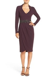 Pamella Pamella Roland Women's Embellished Crepe Sheath Dress Aubergine