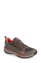 The North Face Women's 'Litewave Explore' Waterproof Hiking Shoe Dark Gull Grey Spiced Coral