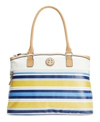 Giani Bernini Coated Canvas Multi Stripe Dome Satchel Only At Macy's Blue Multi