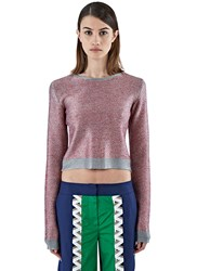 Bobby Kolade Cropped Contrast Diamond Knit Sweater Red