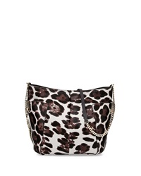 Jimmy Choo Anabel Leopard Print Calf Hair Crossbody Bag Gray